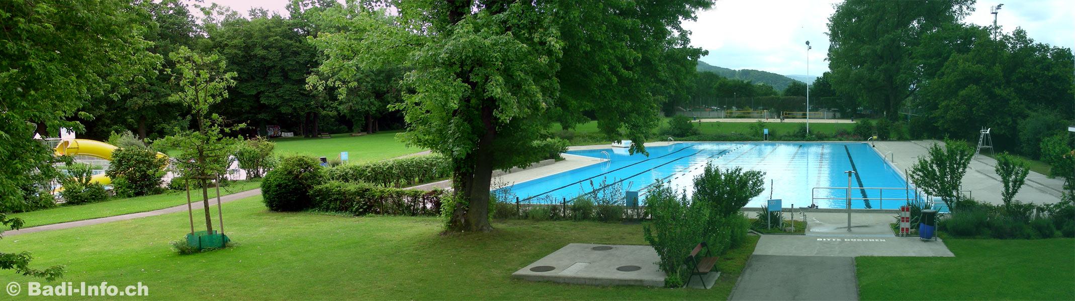 Das schwimmerbecken im gartenbad st jakob basel links das